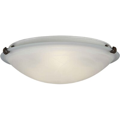 Caudill Flush Mount - Marble Glass Shade Size / Finish: 4.5 H x 12 W / Rustic Sienna