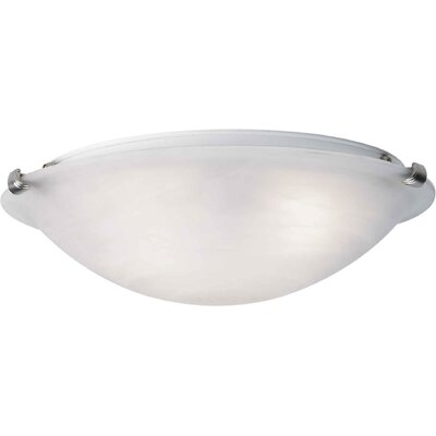 Caudill Flush Mount - Marble Glass Shade Size / Finish: 4.5 H x 12 W / Brushed Nickel