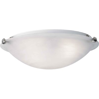 Caudill Flush Mount - Marble Glass Shade Size / Finish: 5 H x 16 W / Brushed Nickel