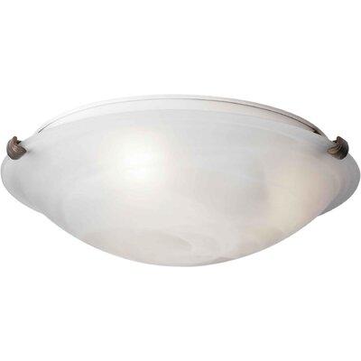 Caudill Flush Mount - Marble Glass Shade Size / Finish: 6 H x 20 W / Desert Stone