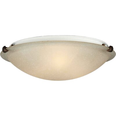 Caudill Flush Mount - Marble Glass Shade Size / Finish: 6 H x 20 W / Antique Bronze