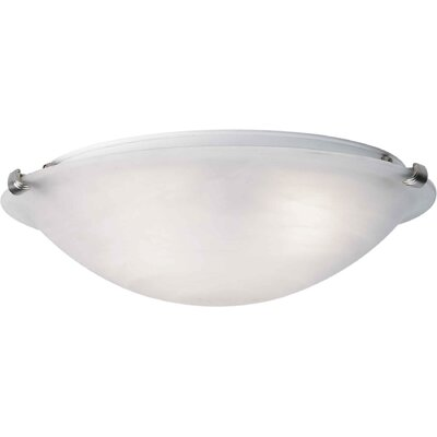 Caudill Flush Mount - Marble Glass Shade Size / Finish: 6 H x 20 W / Brushed Nickel