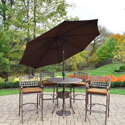 Braddock 7 Piece Cast Aluminum Outdoor Bar Set Finish: Brown