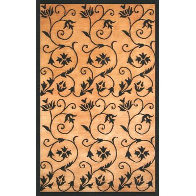 Eleanor Hand-Knotted Gold/Black Area Rug Rug Size: 8 x 10