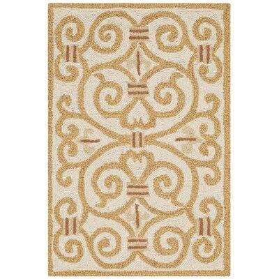 Bissette Ivory&Gold Area Rug Rug Size: Rectangle 18 x 26