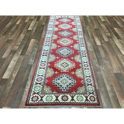 One-of-a-Kind Durand Pakistan Kazak Hand-Knotted Wool Beige/Red Area Rug