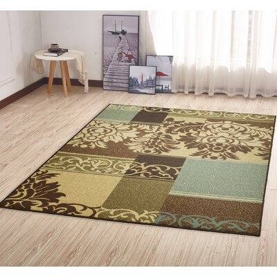 Camarena Contemporary Damask Design Hallway Area Rug Rug Size: Rectangle 5 x 66
