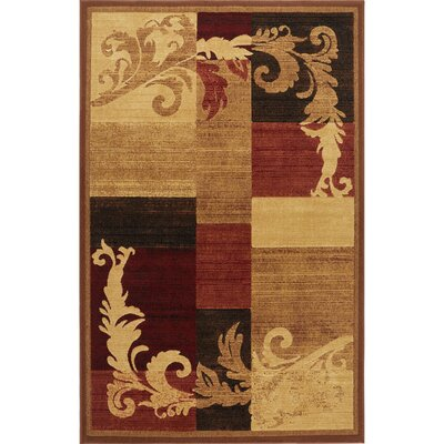 Cheyney Light Brown/Red Area Rug Rug Size: Rectangle 53 x 72