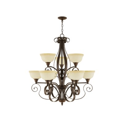 Brew Kettle 9-Light Shaded Chandelier