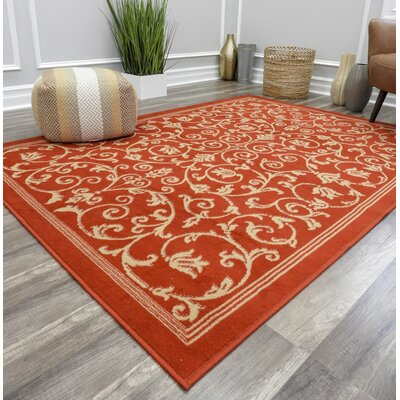 Benefield Vines Red Area Rug Rug Size: Rectangle 8 x 10