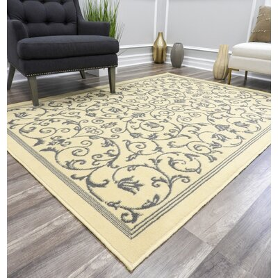 Benelva Vines Ivory Area Rug Rug Size: Rectangle 8 x 10