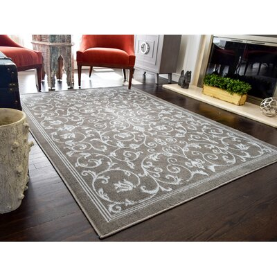 Chadd Vines Gray Area Rug Rug Size: Rectangle 5 x 7