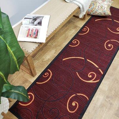 Claudette Tribal Filigree Red Area Rug Rug Size: Runner 110 x 610