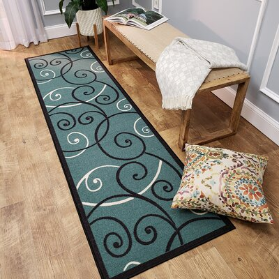 Claudette Tribal Filigree Blue Area Rug Rug Size: Runner 110 x 610