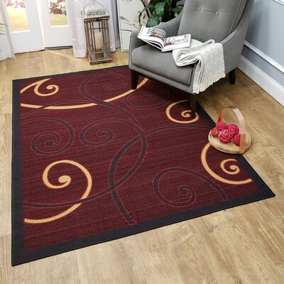 Claudette Tribal Filigree Red Area Rug Rug Size: Rectangle 82 x 910