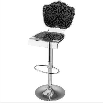 Marley Acrylic Pedestal 46 Swivel Bar Stool Upholstery: Black