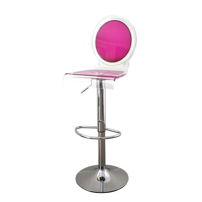 Medallion Sixteen 31 inch Swivel Bar Stool Upholstery: Pink, Finish: Black