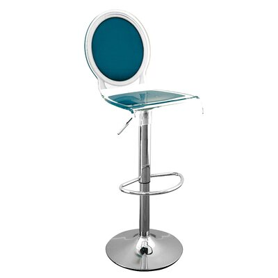 Medallion Sixteen 31 Swivel Bar Stool Upholstery: Pigeon Blue, Finish: Black