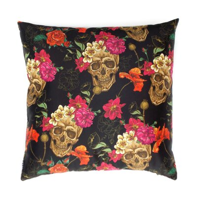 Upsilon Skull with Flowers Throw Pillow