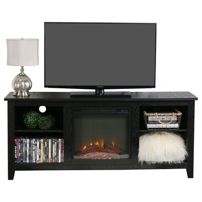 Sunbury 58 TV Stand with Optional Fireplace Color: Black, Fireplace Included: Yes