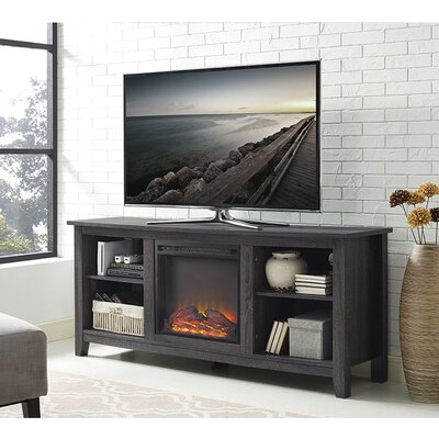 Sunbury 58 TV Stand with Optional Fireplace Color: Charcoal, Fireplace Included: Yes