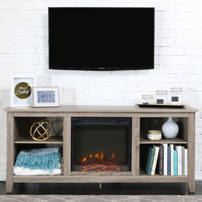 Sunbury 58 TV Stand with Optional Fireplace Color: Driftwood, Fireplace Included: Yes