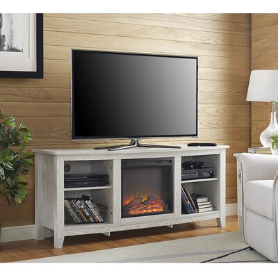 Sunbury 58 TV Stand with Optional Fireplace Color: White Wash, Fireplace Included: Yes