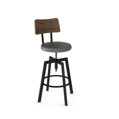 Lorri Adjustable Height Swivel Bar Stool Finish: Gun Metal/Brown
