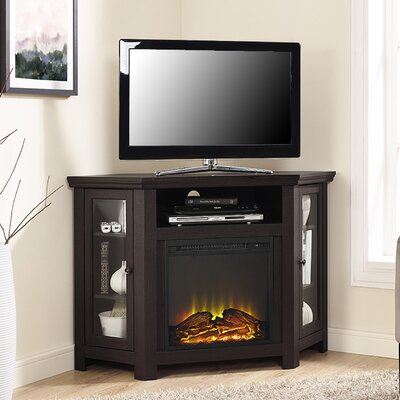 Rena Corner TV Stand with Electric Fireplace Finish: Espresso