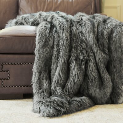 Sheree Silver Fox Throw Size: 58 X 60