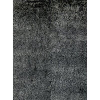 Ashleigh Faux Fur Black/Charcoal Area Rug Rug Size: Rectangle 26 x 76