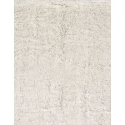 Ashleigh Faux Fur Ivory/Grey Area Rug Rug Size: Rectangle 26 x 76