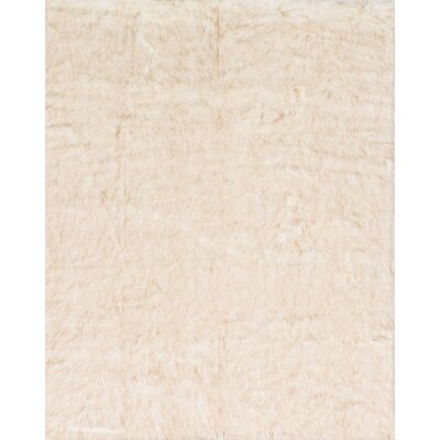 Ashleigh Faux Fur Ivory/Beige Area Rug Rug Size: Rectangle 2 x 3