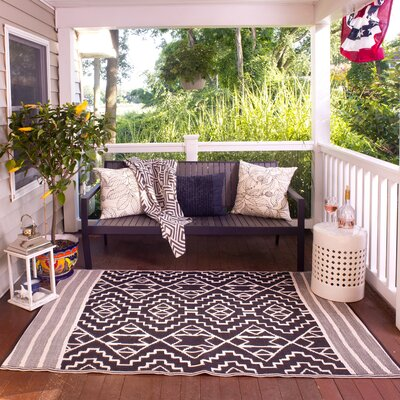 Tayler Indoor/Outdoor Black/Beige Area Rug Rug Size: Rectangle 4 x 6