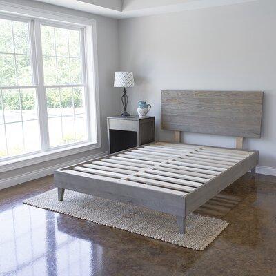 Alayna Industrial Barnwood Platform Bed Frame & Headboard Size: California King