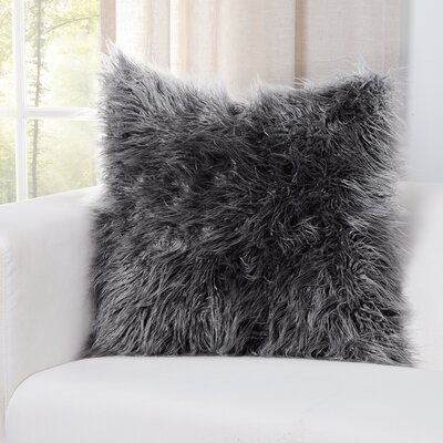 Faux Fur Throw Pillow Size: 16 H x 16 W x 6 D, Color: Silver