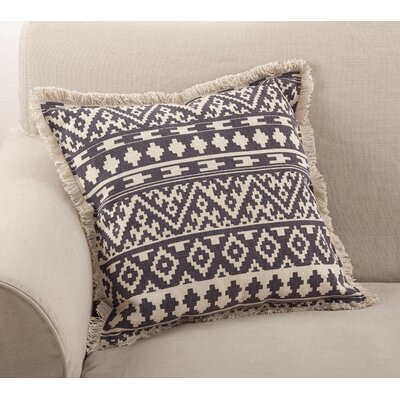 Peters Aztec Tribal Fringe Border Cotton Throw Pillow