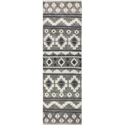 Marisela Hand-Knotted Wool Ivory/Gray Area Rug Rug Size: Runner 26 x 8