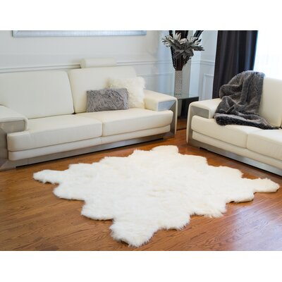 Shayne Square Off White Faux Sheepskin Area Rug
