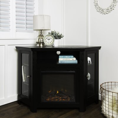 Rena Corner 48 TV Stand with Fireplace Finish: Black
