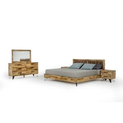 Sofia Light Wood Platform 5 Piece Bedroom Set Bed Size: Queen