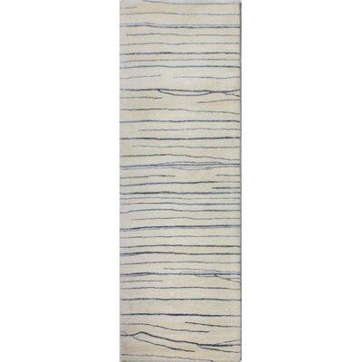 Jaqueline Hand-Tufted Ivory/Blue Area Rug Rug Size: Runner 26 x 8