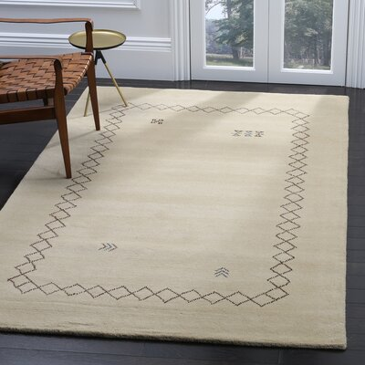 Coraima Hand-Loomed Wool Beige Area Rug Rug Size: Rectangle 5 x 8