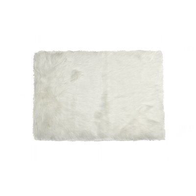 Shawnta Faux Sheepskin Off White Area Rug