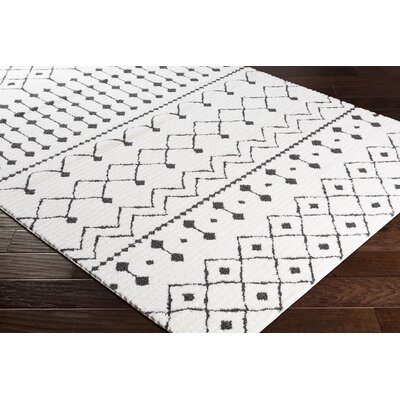 Rhodes Bohemian Rectangle Ivory/Black Area Rug Rug Size: Rectangle 53 x 73