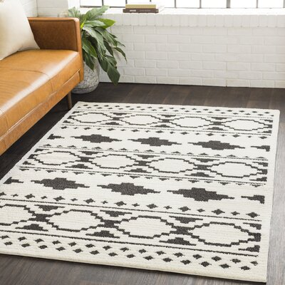 Rhodes Bohemian Ivory/Black Area Rug Rug Size: Rectangle 67 x 96