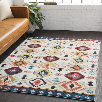 Rhodes Bohemian Ivory/Burnt Orange Area Rug Rug Size: Rectangle 67 x 96