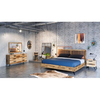 Sofia Light Wood Platform 5 Piece Bedroom Set Bed Size: Queen