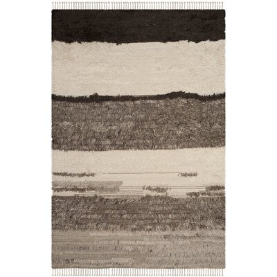 Xue Hand Knotted Wool Ivory/Gray Area Rug Rug Size: Rectangle 10 x 14