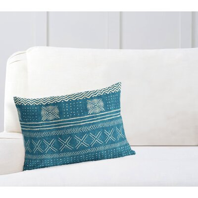 Couturier Geometric Rectangular Lumbar Pillow Color: Teal, Size: 12 H x 16 W